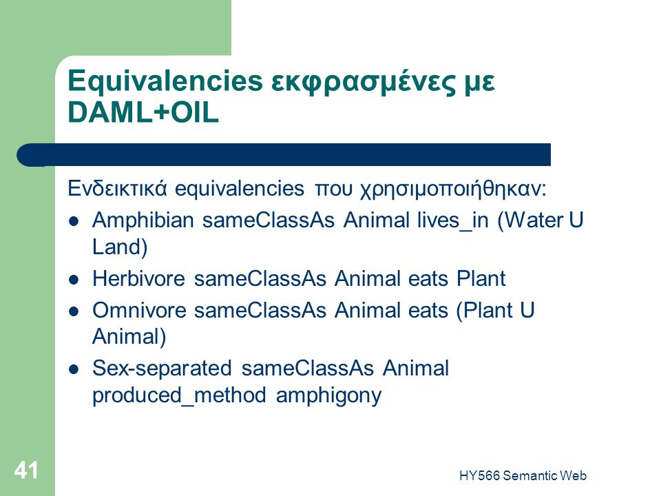 HY566 Semantic Web 41 Equivalencies εκφρασμένες με DAML+OIL Ενδεικτικά equivalencies που χρησιμοποιήθηκαν:  Amphibian sameClassAs Animal lives_in (Water U Land)  Herbivore sameClassAs Animal eats Plant  Omnivore sameClassAs Animal eats (Plant U Animal)  Sex-separated sameClassAs Animal produced_method amphigony
