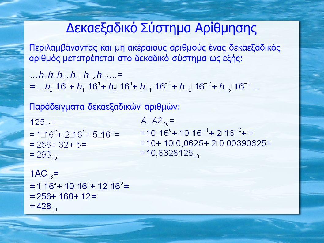 Δεκαεξαδικό Σύστημα Αρίθμησης Παράδειγματα δεκαεξαδικών αριθμών: Περιλαμβάνοντας και μη ακέραιους αριθμούς ένας δεκαεξαδικός αριθμός μετατρέπεται στο δεκαδικό σύστημα ως εξής: