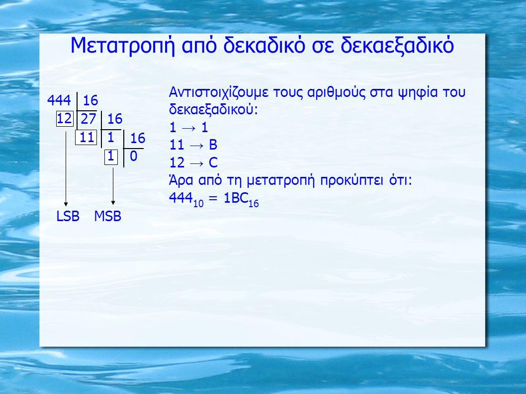 Μετατροπή από δεκαδικό σε δεκαεξαδικό 44416 27 12 16 111 16 0 1 ΜSΒLSΒ Αντιστοιχίζουμε τους αριθμούς στα ψηφία του δεκαεξαδικού: 1 → 1 11 → Β 12 → C Άρα από τη μετατροπή προκύπτει ότι: 444 10 = 1BC 16
