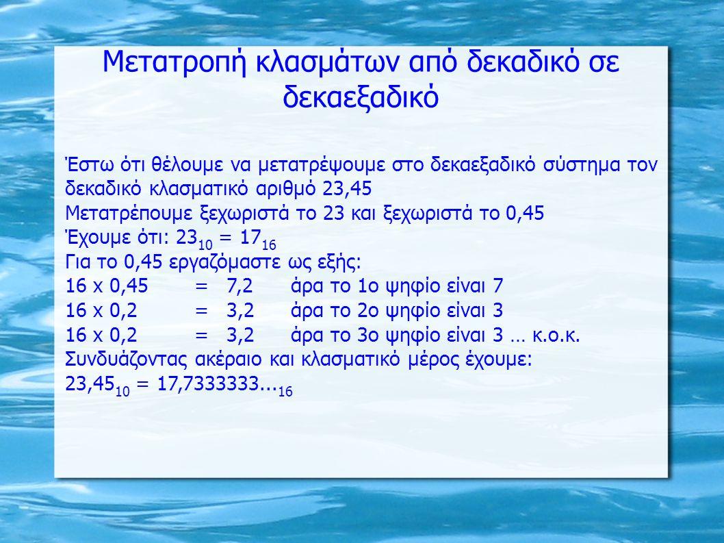 Έστω ότι θέλουμε να μετατρέψουμε στο δεκαεξαδικό σύστημα τον δεκαδικό κλασματικό αριθμό 23,45 Μετατρέπουμε ξεχωριστά το 23 και ξεχωριστά το 0,45 Έχουμε ότι: 23 10 = 17 16 Για το 0,45 εργαζόμαστε ως εξής: 16 x 0,45=7,2άρα το 1ο ψηφίο είναι 7 16 x 0,2=3,2άρα το 2ο ψηφίο είναι 3 16 x 0,2=3,2άρα το 3ο ψηφίο είναι 3 … κ.ο.κ.