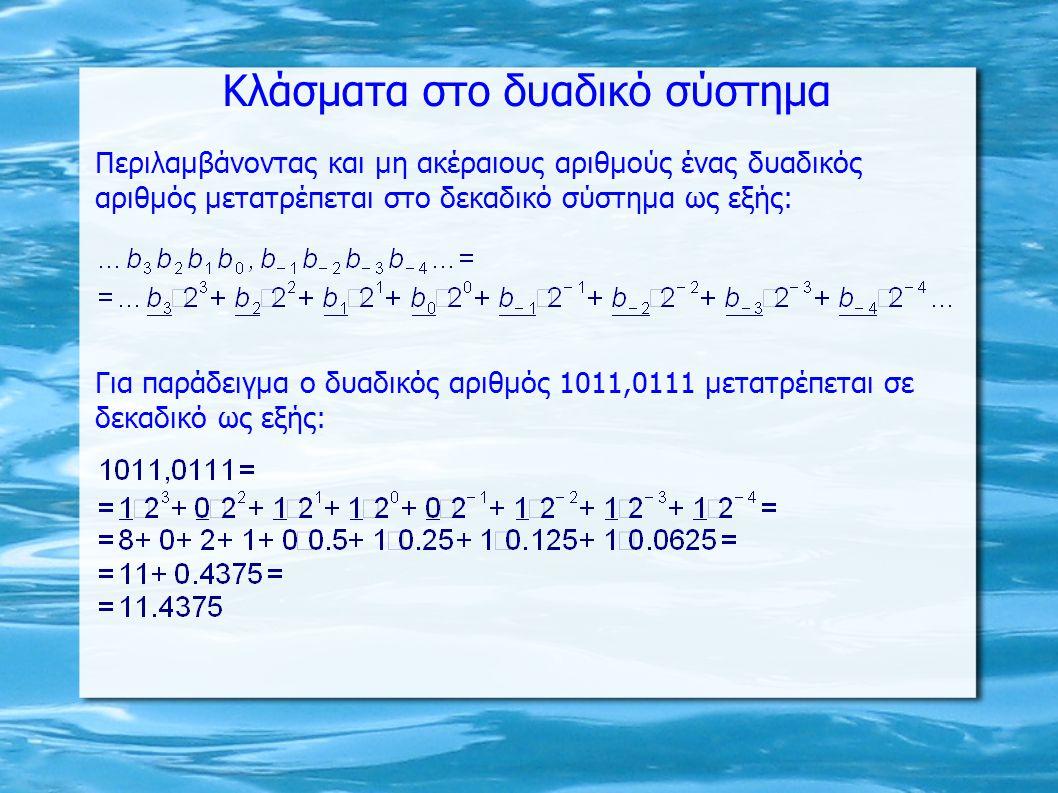 Κλάσματα στο δυαδικό σύστημα Περιλαμβάνοντας και μη ακέραιους αριθμούς ένας δυαδικός αριθμός μετατρέπεται στο δεκαδικό σύστημα ως εξής: Για παράδειγμα ο δυαδικός αριθμός 1011,0111 μετατρέπεται σε δεκαδικό ως εξής:
