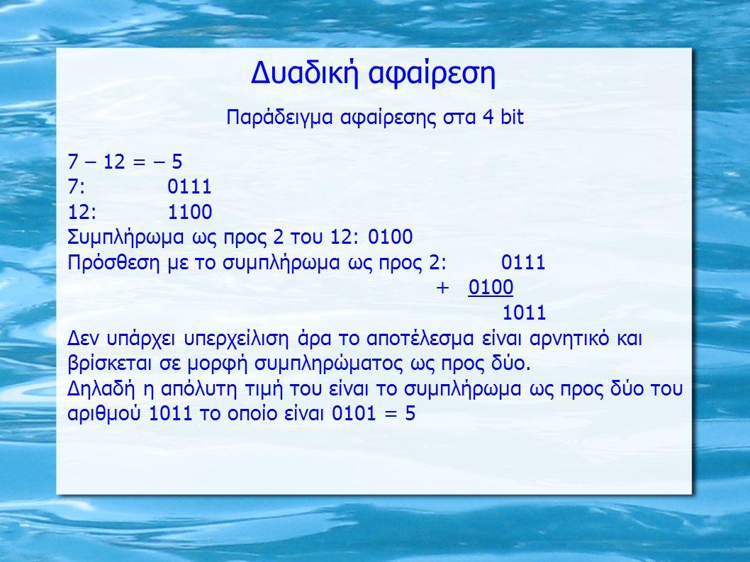 Δυαδική αφαίρεση Παράδειγμα αφαίρεσης στα 4 bit 7 – 12 = – 5 7:0111 12:1100 Συμπλήρωμα ως προς 2 του 12:0100 Πρόσθεση με το συμπλήρωμα ως προς 2: 0111 +0100 1011 Δεν υπάρχει υπερχείλιση άρα το αποτέλεσμα είναι αρνητικό και βρίσκεται σε μορφή συμπληρώματος ως προς δύο.