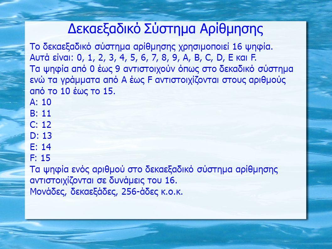 Δεκαεξαδικό Σύστημα Αρίθμησης Το δεκαεξαδικό σύστημα αρίθμησης χρησιμοποιεί 16 ψηφία.