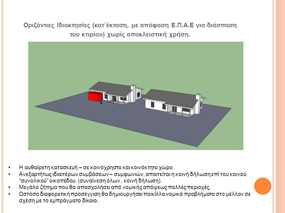 Οριζόντιες Ιδιοκτησίες (κατ΄έκταση, με απόφαση Ε.Π.Α.Ε για διάσπαση του κτιρίου) χωρίς αποκλειστική χρήση. •Η αυθαίρετη κατασκευή – σε κοινόχρηστο και