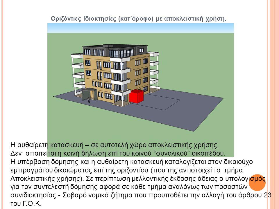 Οριζόντιες Ιδιοκτησίες (κατ΄όροφο) με αποκλειστική χρήση. Η αυθαίρετη κατασκευή – σε αυτοτελή χώρο αποκλειστικής χρήσης. Δεν απαιτείται η κοινή δήλωση