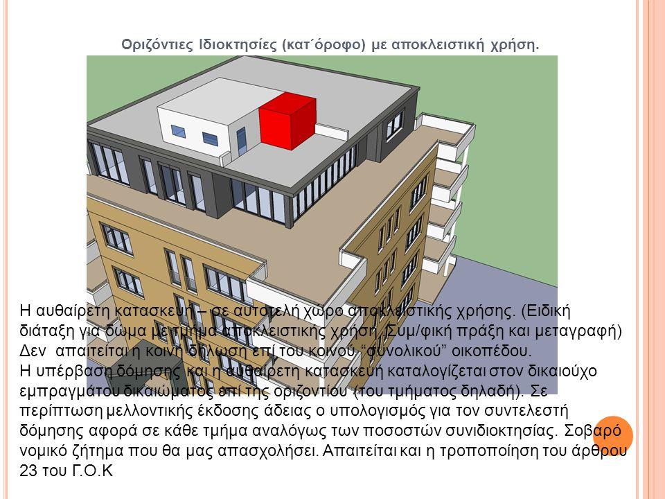 Οριζόντιες Ιδιοκτησίες (κατ΄όροφο) με αποκλειστική χρήση. Η αυθαίρετη κατασκευή – σε αυτοτελή χώρο αποκλειστικής χρήσης. (Ειδική διάταξη για δώμα με τ