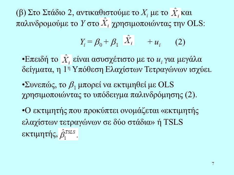 18 Η μέθοδος TSLS στο παράδειγμα προσφοράς και ζήτησης (συνέχεια) Z i = βροχή i = βροχόπτωση σε περιοχές όπου παράγονται γαλακτοκομικά προϊόντα.