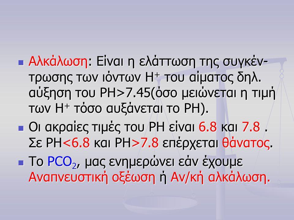  Αλκάλωση: Είναι η ελάττωση της συγκέν- τρωσης των ιόντων Η + του αίματος δηλ. αύξηση του PH>7.45(όσο μειώνεται η τιμή των Η + τόσο αυξάνεται το PΗ).