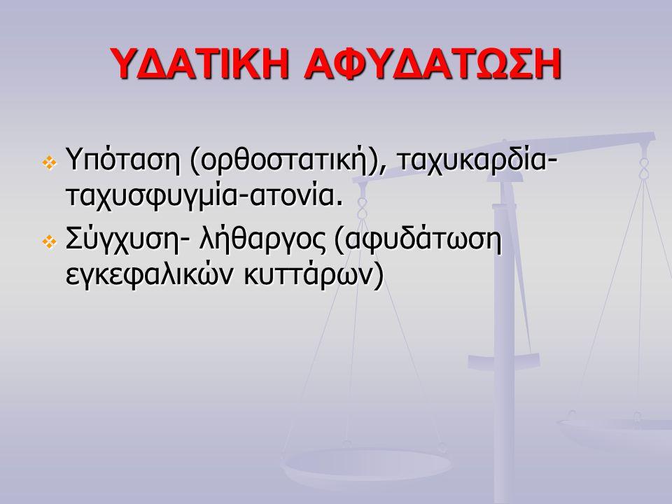 ΥΔΑΤΙΚΗ ΑΦΥΔΑΤΩΣΗ  Υπόταση (ορθοστατική), ταχυκαρδία- ταχυσφυγμία-ατονία.  Σύγχυση- λήθαργος (αφυδάτωση εγκεφαλικών κυττάρων)