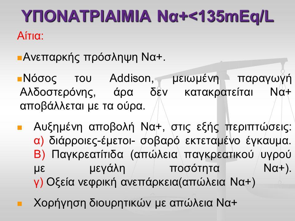 ΥΠΟΝΑΤΡΙΑΙΜΙΑ Nα+<135mEq/L Αίτια:   Ανεπαρκής πρόσληψη Να+.   Νόσος του Addison, μειωμένη παραγωγή Αλδοστερόνης, άρα δεν κατακρατείται Να+ αποβάλλ