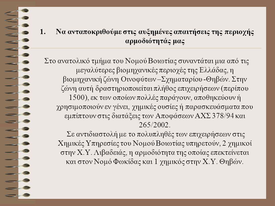 1.Να ανταποκριθούμε στις αυξημένες απαιτήσεις της περιοχής αρμοδιότητάς μας Στο ανατολικό τμήμα του Νομού Βοιωτίας συναντάται μια από τις μεγαλύτερες βιομηχανικές περιοχές της Ελλάδας, η βιομηχανική ζώνη Οινοφύτων –Σχηματαρίου -Θηβών.