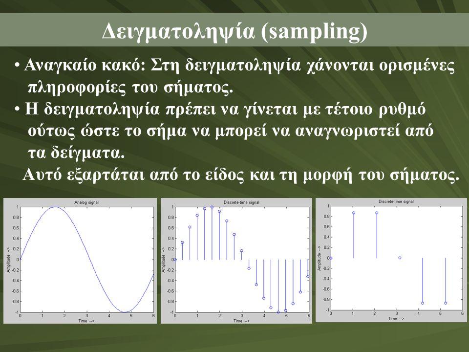 Δειγματοληψία (sampling) • Αναγκαίο κακό: Στη δειγματοληψία χάνονται ορισμένες πληροφορίες του σήματος. • Η δειγματοληψία πρέπει να γίνεται με τέτοιο