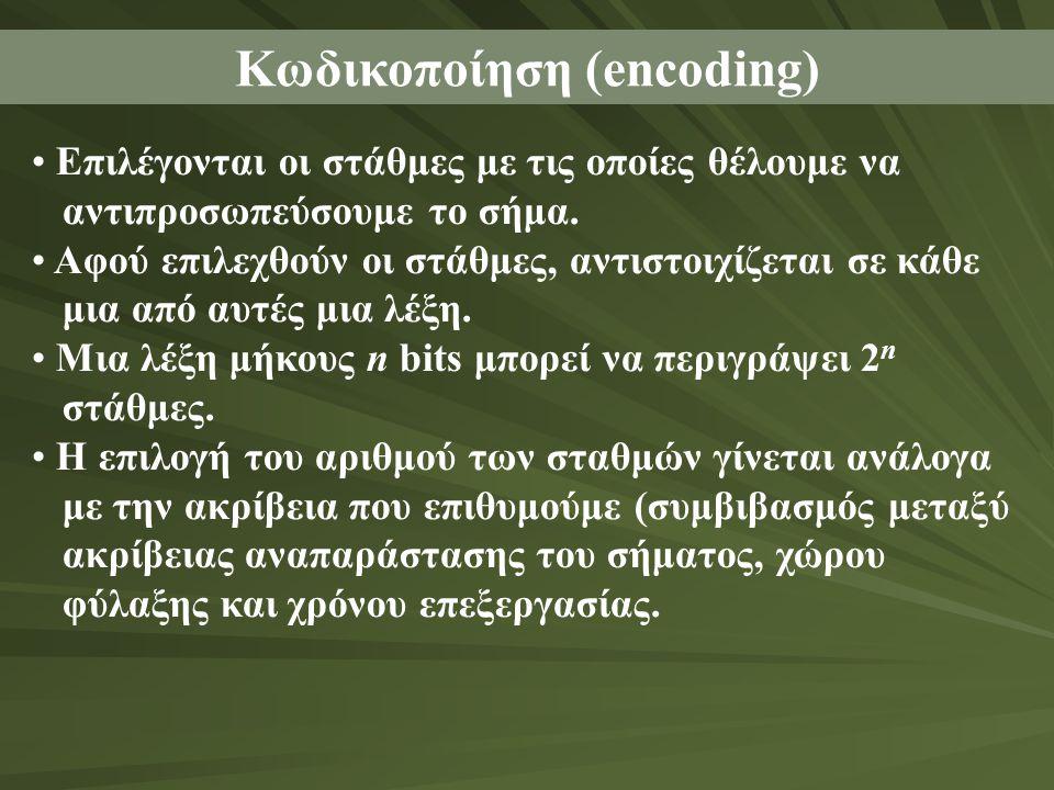 Κωδικοποίηση (encoding) • Επιλέγονται οι στάθμες με τις οποίες θέλουμε να αντιπροσωπεύσουμε το σήμα. • Αφού επιλεχθούν οι στάθμες, αντιστοιχίζεται σε