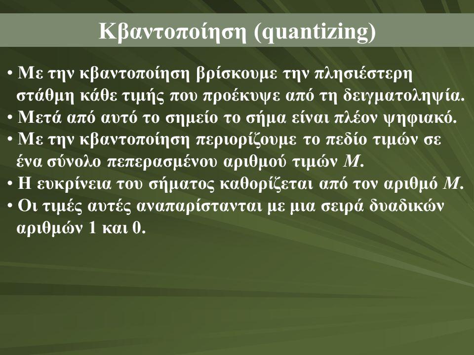 Κβαντοποίηση (quantizing) • Με την κβαντοποίηση βρίσκουμε την πλησιέστερη στάθμη κάθε τιμής που προέκυψε από τη δειγματοληψία. • Μετά από αυτό το σημε