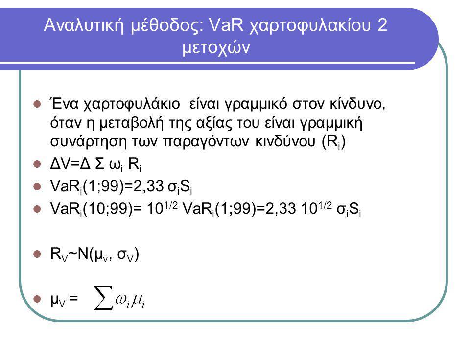 Αναλυτική μέθοδος: VaR χαρτοφυλακίου 2 μετοχών  Ένα χαρτοφυλάκιο είναι γραμμικό στον κίνδυνο, όταν η μεταβολή της αξίας του είναι γραμμική συνάρτηση