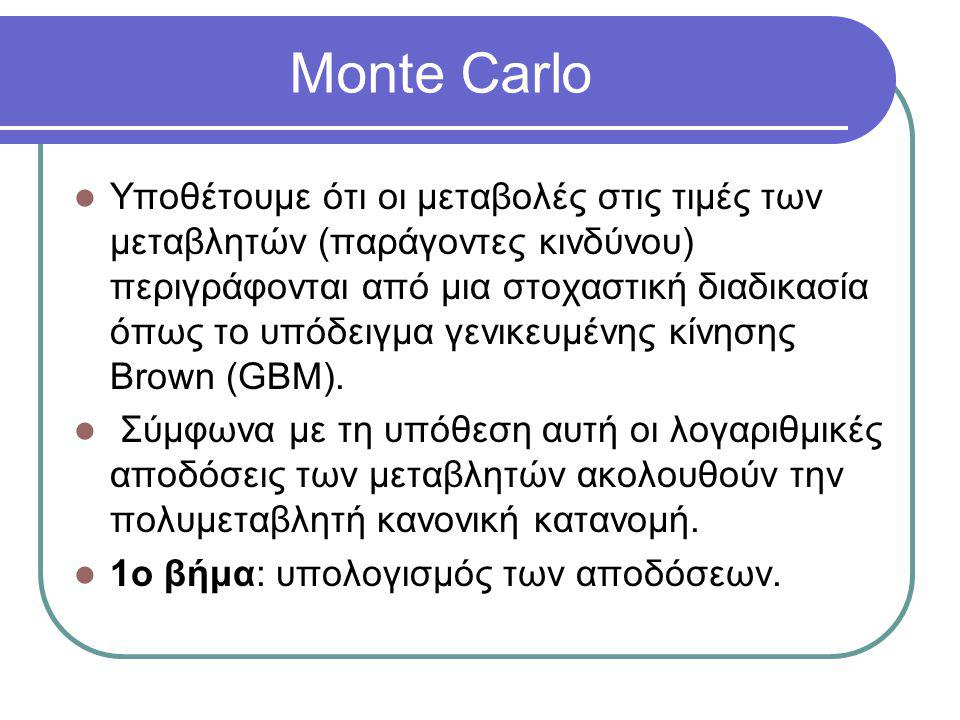 Monte Carlo  Υποθέτουμε ότι οι μεταβολές στις τιμές των μεταβλητών (παράγοντες κινδύνου) περιγράφονται από μια στοχαστική διαδικασία όπως το υπόδειγμ