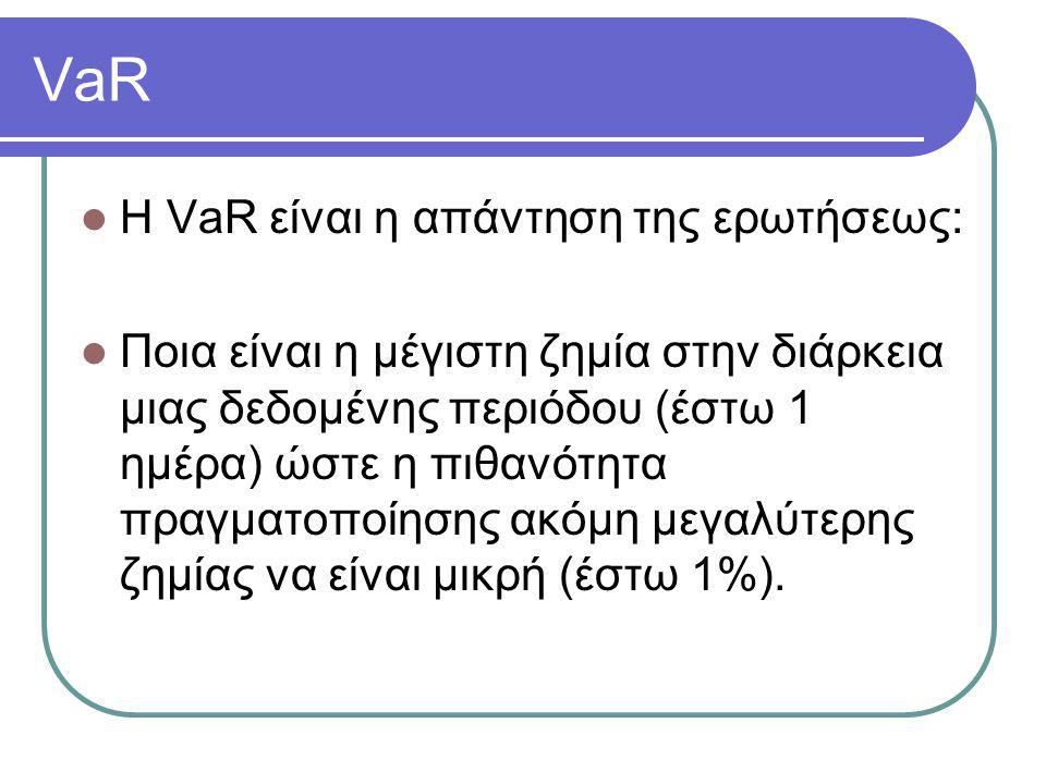 VaR  Η VaR είναι η απάντηση της ερωτήσεως:  Ποια είναι η μέγιστη ζημία στην διάρκεια μιας δεδομένης περιόδου (έστω 1 ημέρα) ώστε η πιθανότητα πραγμα