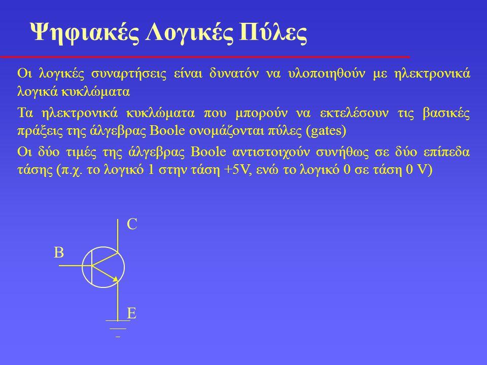 Οι λογικές συναρτήσεις είναι δυνατόν να υλοποιηθούν με ηλεκτρονικά λογικά κυκλώματα Τα ηλεκτρονικά κυκλώματα που μπορούν να εκτελέσουν τις βασικές πρά