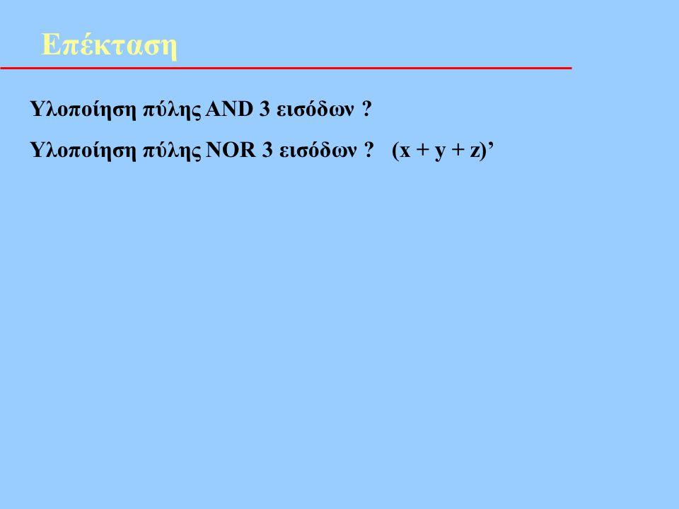 Επέκταση Υλοποίηση πύλης AND 3 εισόδων ? Υλοποίηση πύλης NOR 3 εισόδων ? (x + y + z)'