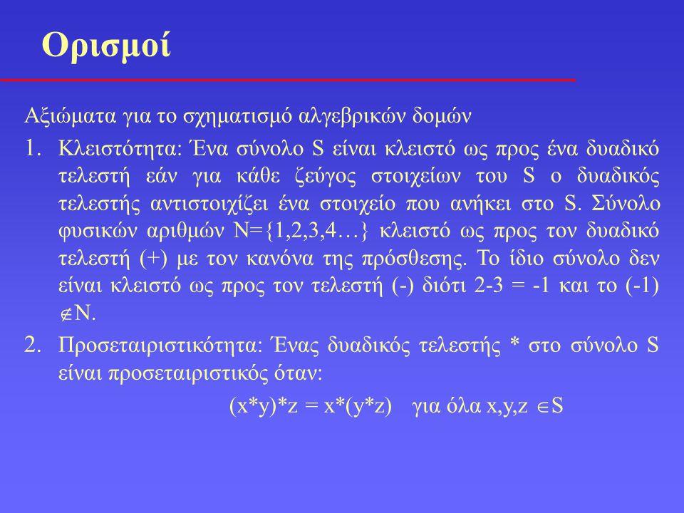 Αξιώματα για το σχηματισμό αλγεβρικών δομών 1. Κλειστότητα: Ένα σύνολο S είναι κλειστό ως προς ένα δυαδικό τελεστή εάν για κάθε ζεύγος στοιχείων του S