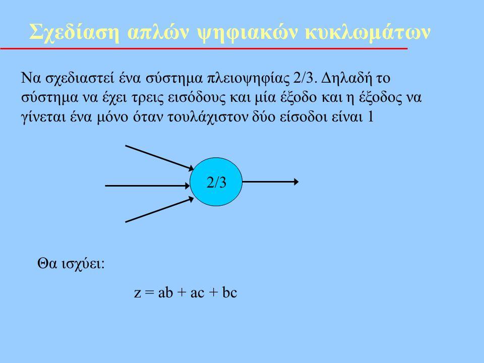 Σχεδίαση απλών ψηφιακών κυκλωμάτων Να σχεδιαστεί ένα σύστημα πλειοψηφίας 2/3. Δηλαδή το σύστημα να έχει τρεις εισόδους και μία έξοδο και η έξοδος να γ