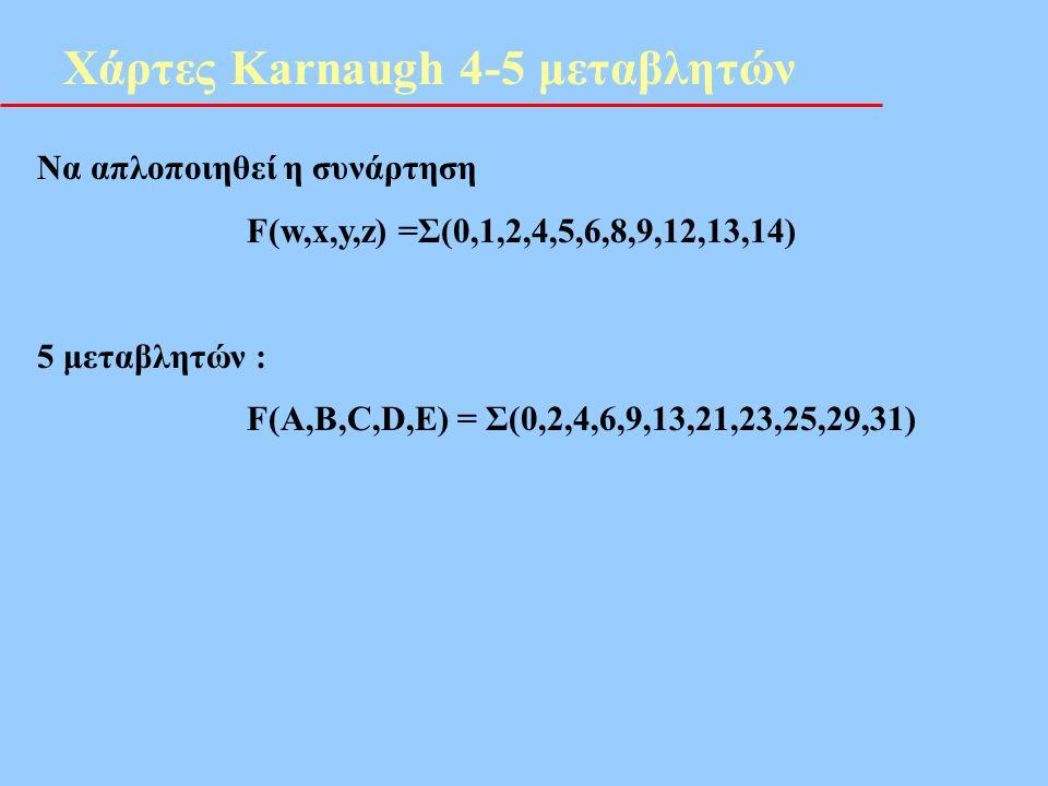Χάρτες Karnaugh 4-5 μεταβλητών Να απλοποιηθεί η συνάρτηση F(w,x,y,z) =Σ(0,1,2,4,5,6,8,9,12,13,14) 5 μεταβλητών : F(A,B,C,D,E) = Σ(0,2,4,6,9,13,21,23,2