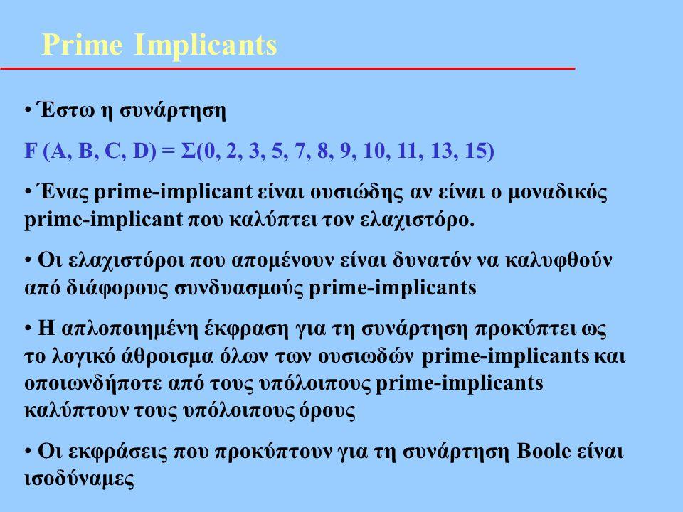Prime Implicants • Έστω η συνάρτηση F (A, B, C, D) = Σ(0, 2, 3, 5, 7, 8, 9, 10, 11, 13, 15) • Ένας prime-implicant είναι ουσιώδης αν είναι ο μοναδικός