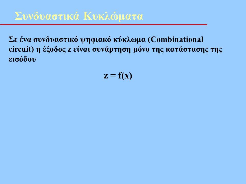 Συνδυαστικά Κυκλώματα Σε ένα συνδυαστικό ψηφιακό κύκλωμα (Combinational circuit) η έξοδος z είναι συνάρτηση μόνο της κατάστασης της εισόδου z = f(x)