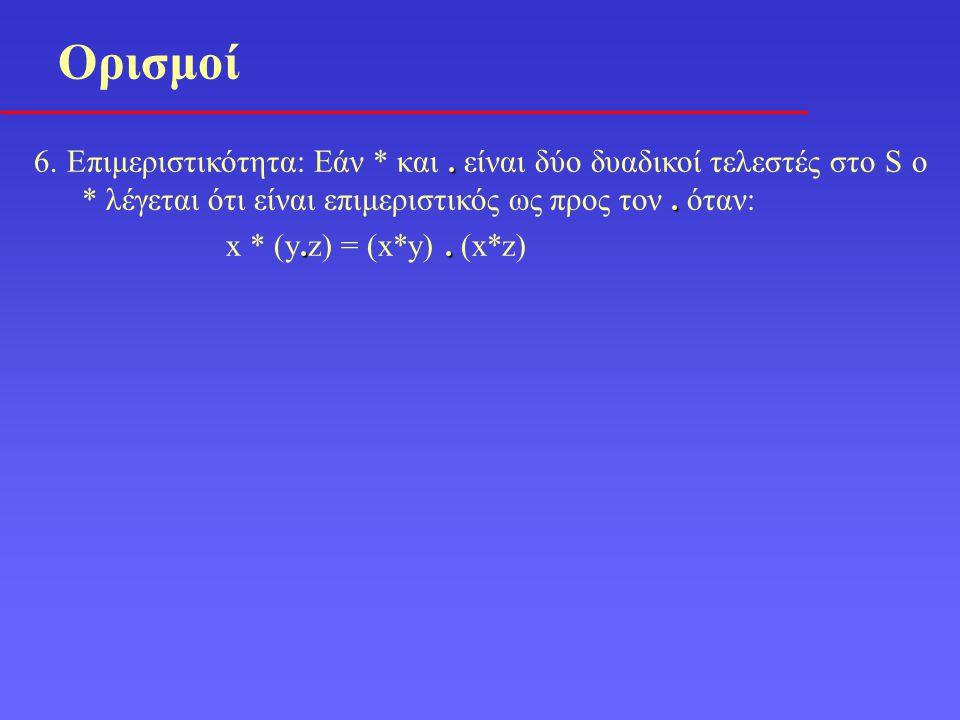 .. 6. Επιμεριστικότητα: Εάν * και. είναι δύο δυαδικοί τελεστές στο S ο * λέγεται ότι είναι επιμεριστικός ως προς τον. όταν:.. x * (y.z) = (x*y). (x*z)
