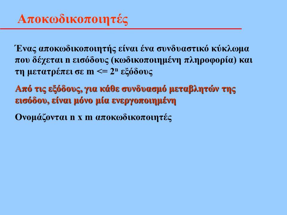 Αποκωδικοποιητές Ένας αποκωδικοποιητής είναι ένα συνδυαστικό κύκλωμα που δέχεται n εισόδους (κωδικοποιημένη πληροφορία) και τη μετατρέπει σε m <= 2 n