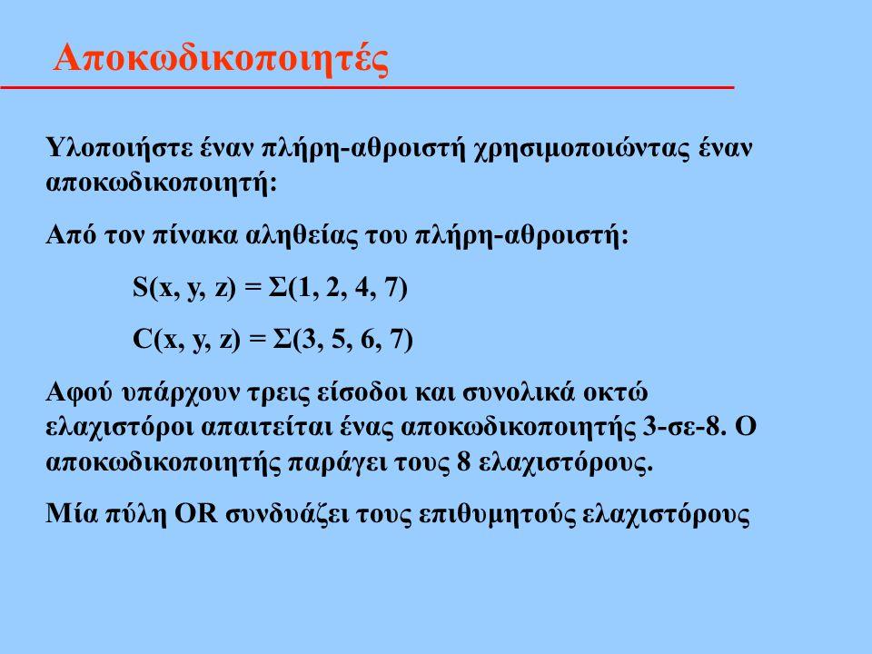 Αποκωδικοποιητές Υλοποιήστε έναν πλήρη-αθροιστή χρησιμοποιώντας έναν αποκωδικοποιητή: Από τον πίνακα αληθείας του πλήρη-αθροιστή: S(x, y, z) = Σ(1, 2,