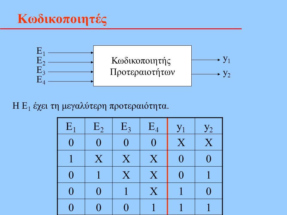 Κωδικοποιητές Κωδικοποιητής Προτεραιοτήτων Ε1Ε1 Ε2Ε2 Ε3Ε3 Ε4Ε4 y1y1 y2y2 H E 1 έχει τη μεγαλύτερη προτεραιότητα. Ε1Ε1 Ε2Ε2 Ε3Ε3 Ε4Ε4 y1y1 y2y2 0000XX