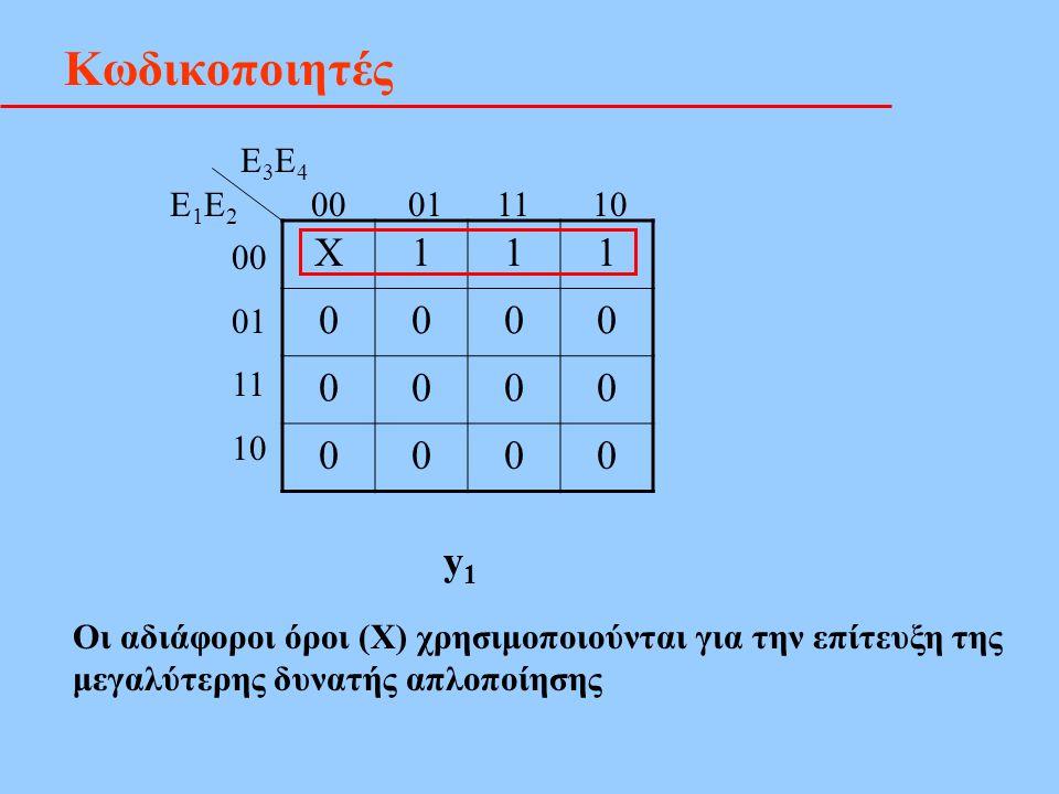 Κωδικοποιητές X111 0000 0000 0000 E3E4E3E4 E1E2E1E2 00 01 11 10 00 01 11 10 y1y1 Οι αδιάφοροι όροι (Χ) χρησιμοποιούνται για την επίτευξη της μεγαλύτερ