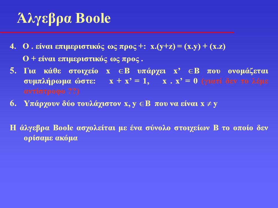 4. O. είναι επιμεριστικός ως προς +: x.(y+z) = (x.y) + (x.z) Ο + είναι επιμεριστικός ως προς. 5. Για κάθε στοιχείο x  B υπάρχει x'  B που ονομάζεται