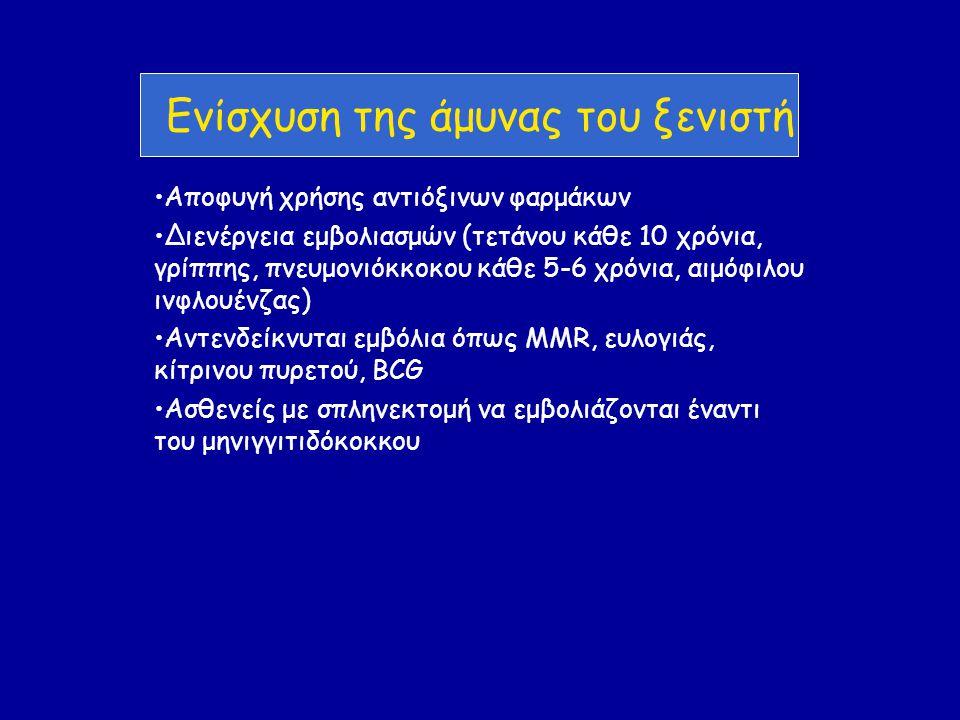 Ενίσχυση της άμυνας του ξενιστή •Αποφυγή χρήσης αντιόξινων φαρμάκων •Διενέργεια εμβολιασμών (τετάνου κάθε 10 χρόνια, γρίππης, πνευμονιόκκοκου κάθε 5-6 χρόνια, αιμόφιλου ινφλουένζας) •Αντενδείκνυται εμβόλια όπως MMR, ευλογιάς, κίτρινου πυρετού, BCG •Ασθενείς με σπληνεκτομή να εμβολιάζονται έναντι του μηνιγγιτιδόκοκκου