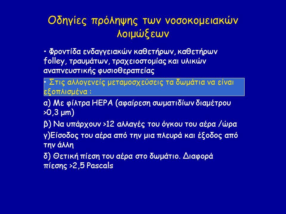 Οδηγίες πρόληψης των νοσοκομειακών λοιμώξεων • Φροντίδα ενδαγγειακών καθετήρων, καθετήρων folley, τραυμάτων, τραχειοστομίας και υλικών αναπνευστικής φυσιοθεραπείας • Στις αλλογενείς μεταμοσχεύσεις τα δωμάτια να είναι εξοπλισμένα : α) Με φίλτρα HEPA (αφαίρεση σωματιδίων διαμέτρου >0,3 μm) β) Να υπάρχουν >12 αλλαγές του όγκου του αέρα /ώρα γ)Είσοδος του αέρα από την μια πλευρά και έξοδος από την άλλη δ) Θετική πίεση του αέρα στο δωμάτιο.
