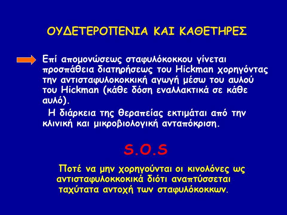 -Επί απομονώσεως σταφυλόκοκκου γίνεται προσπάθεια διατηρήσεως του Hickman χορηγόντας την αντισταφυλοκοκκική αγωγή μέσω του αυλού του Hickman (κάθε δόση εναλλακτικά σε κάθε αυλό).