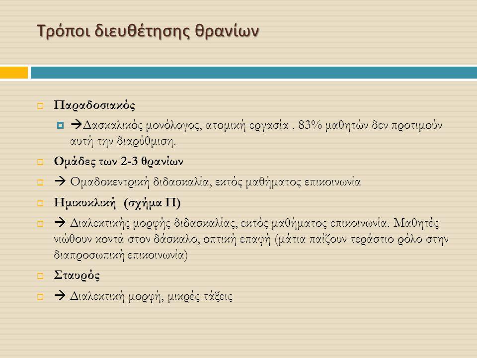 Τρόποι διευθέτησης θρανίων  Παραδοσιακός   Δασκαλικός μονόλογος, ατομική εργασία. 83% μαθητών δεν προτιμούν αυτή την διαρύθμιση.  Ομάδες των 2-3 θ