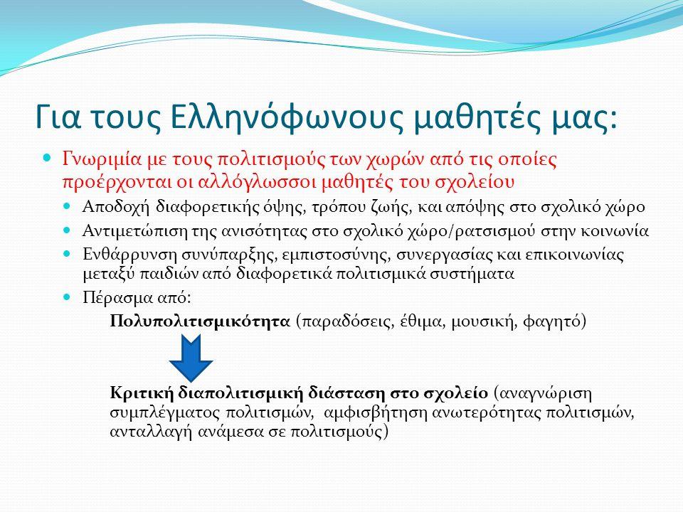 Για τους Ελληνόφωνους μαθητές μας:  Γνωριμία με τους πολιτισμούς των χωρών από τις οποίες προέρχονται οι αλλόγλωσσοι μαθητές του σχολείου  Αποδοχή δ