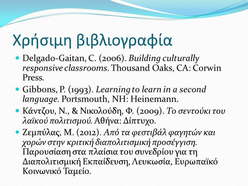 Χρήσιμη βιβλιογραφία  Delgado-Gaitan, C. (2006). Building culturally responsive classrooms. Thousand Oaks, CA: Corwin Press.  Gibbons, P. (1993). Le
