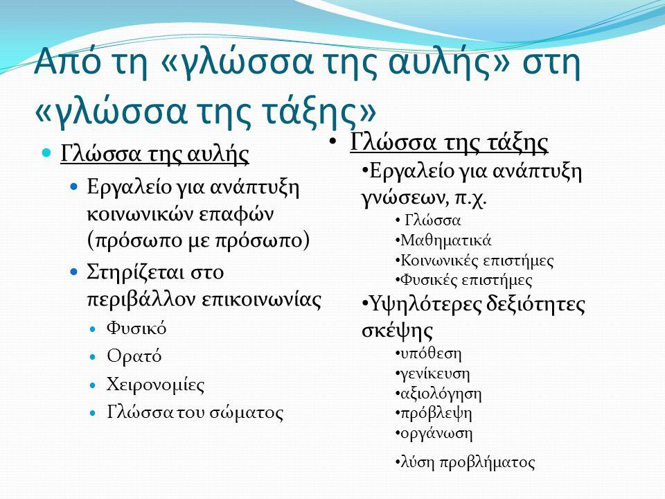 Από τη «γλώσσα της αυλής» στη «γλώσσα της τάξης»  Γλώσσα της αυλής  Εργαλείο για ανάπτυξη κοινωνικών επαφών (πρόσωπο με πρόσωπο)  Στηρίζεται στο πε