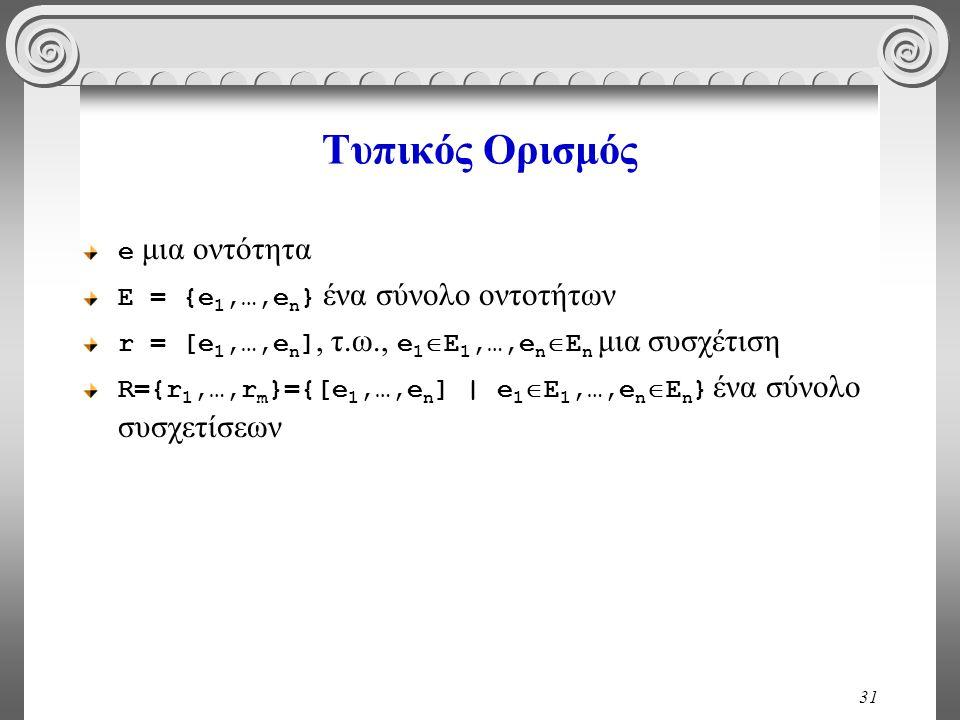 31 Τυπικός Ορισμός e μια οντότητα E = {e 1,…,e n } ένα σύνολο οντοτήτων r = [e 1,…,e n ], τ.ω., e 1  E 1,…,e n  E n μια συσχέτιση R={r 1,…,r m }={[e