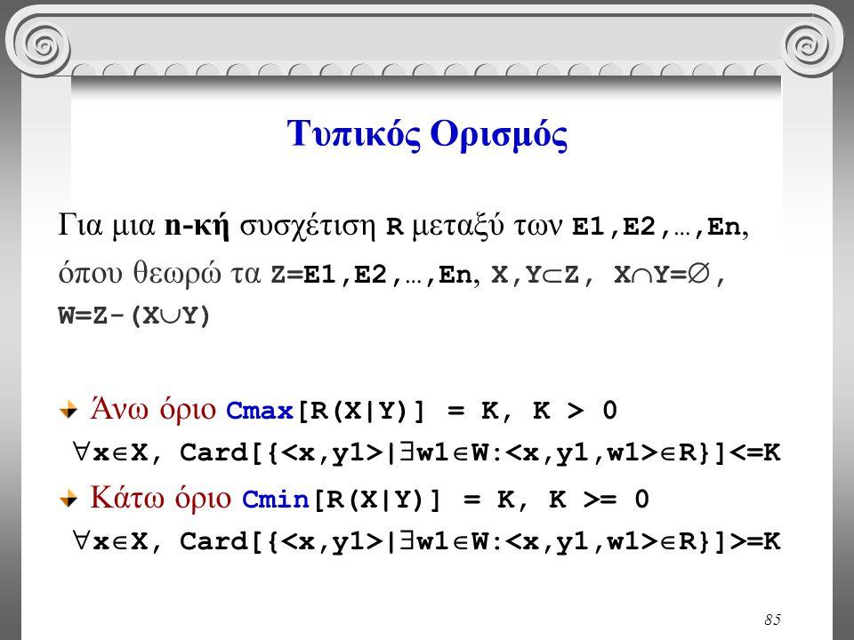 85 Τυπικός Ορισμός Για μια n-κή συσχέτιση R μεταξύ των E1,E2,…,En, όπου θεωρώ τα Ζ=E1,E2,…,En, Χ,Υ  Ζ, Χ  Υ= , W=Z-(Χ  Υ) Άνω όριο Cmax[R(X|Y)] =