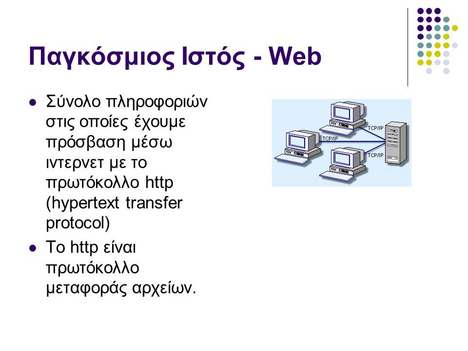 Πρωτόκολλο HTTP  HTTP HyperText Transfer Prolocol  Πρωτόκολλο μεταφοράς Υπερκειμένου Πελάτης Internet Explorer, Netscape, Mozilla, Opera, Lynx Εξυπηρετητής (webserver) IIS, Apache, TUX