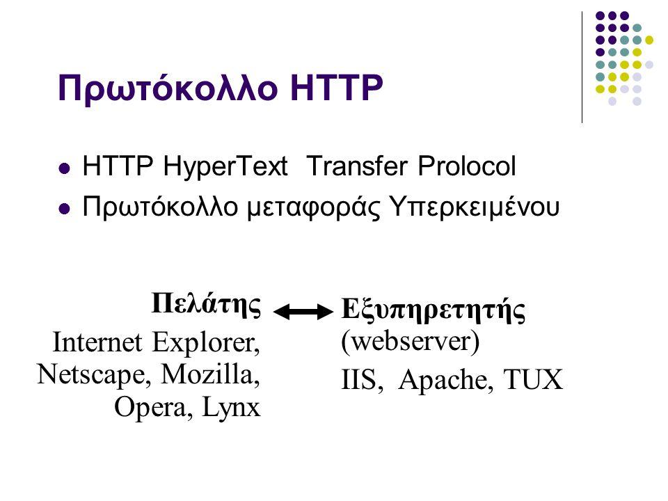URL Διεύθυνση στο Ιντερνετ  URL: Uniform Resource Locator .