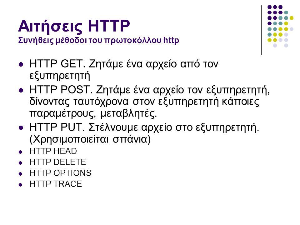 Αιτήσεις HTTP Συνήθεις μέθοδοι του πρωτοκόλλου http  HTTP GET.