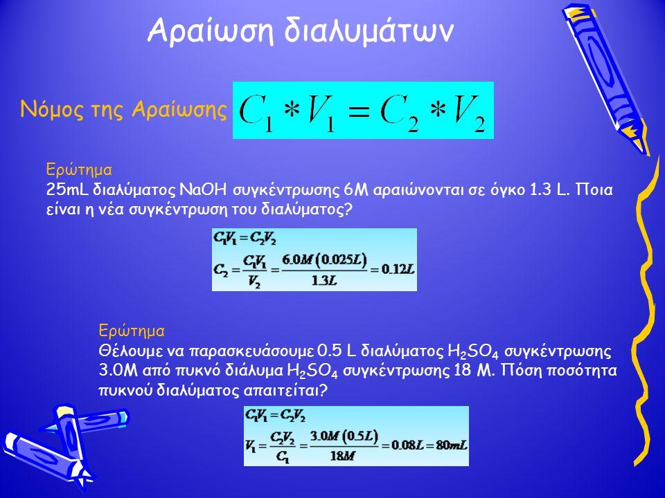 Αραίωση διαλυμάτων Νόμος της Αραίωσης Ερώτημα 25mL διαλύματος NaOH συγκέντρωσης 6M αραιώνονται σε όγκο 1.3 L. Ποια είναι η νέα συγκέντρωση του διαλύμα