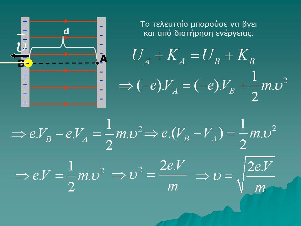 ++++++++++++++++++++ ------------------ A B - d Όμως V = E.d