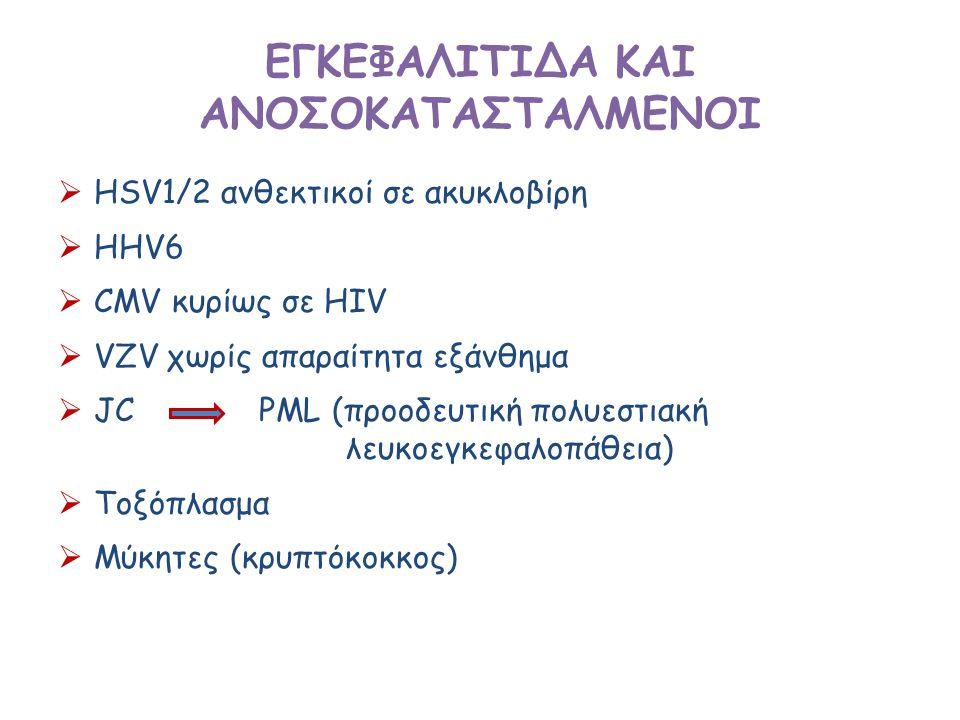 ΕΓΚΕΦΑΛΙΤΙΔΑ ΚΑΙ ΑΝΟΣΟΚΑΤΑΣΤΑΛΜΕΝΟΙ  HSV1/2 ανθεκτικοί σε ακυκλοβίρη  HHV6  CMV κυρίως σε HIV  VZV χωρίς απαραίτητα εξάνθημα  JC PML (προοδευτική πολυεστιακή λευκοεγκεφαλοπάθεια)  Τοξόπλασμα  Μύκητες (κρυπτόκοκκος)