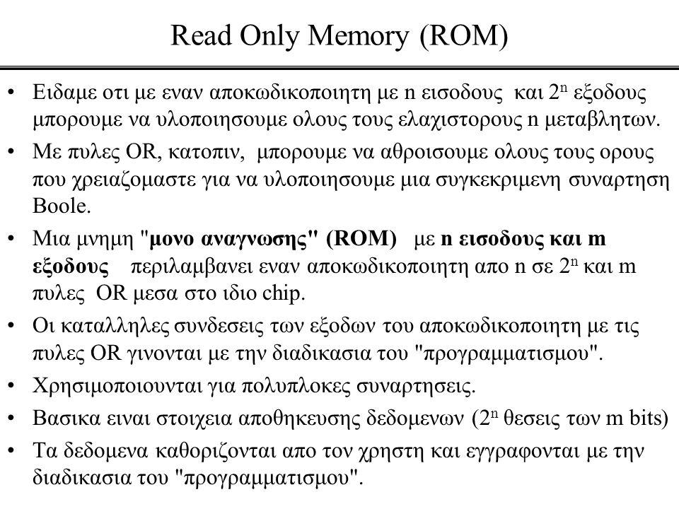 Read Only Memory (ROM) •Ειδαμε οτι με εναν αποκωδικοποιητη με n εισοδους και 2 n εξοδους μπορουμε να υλοποιησουμε ολους τους ελαχιστορους n μεταβλητων